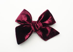 Holiday Collection Emery Fabric Hair Bow Wine Velvet