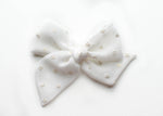 White Gold Silk Dot | Emery Bow