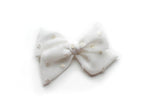 White Gold Silk Dot | Emma Bow