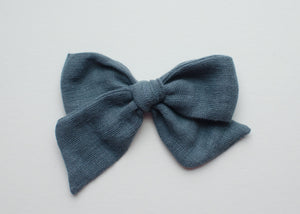 Double Gauze Emery Fabric Hair Bow in Stone