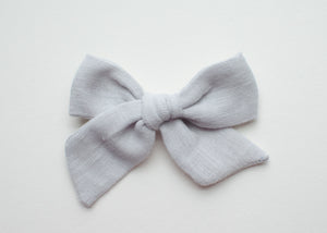 Double Gauze Emery Fabric Hair Bow in Cloud