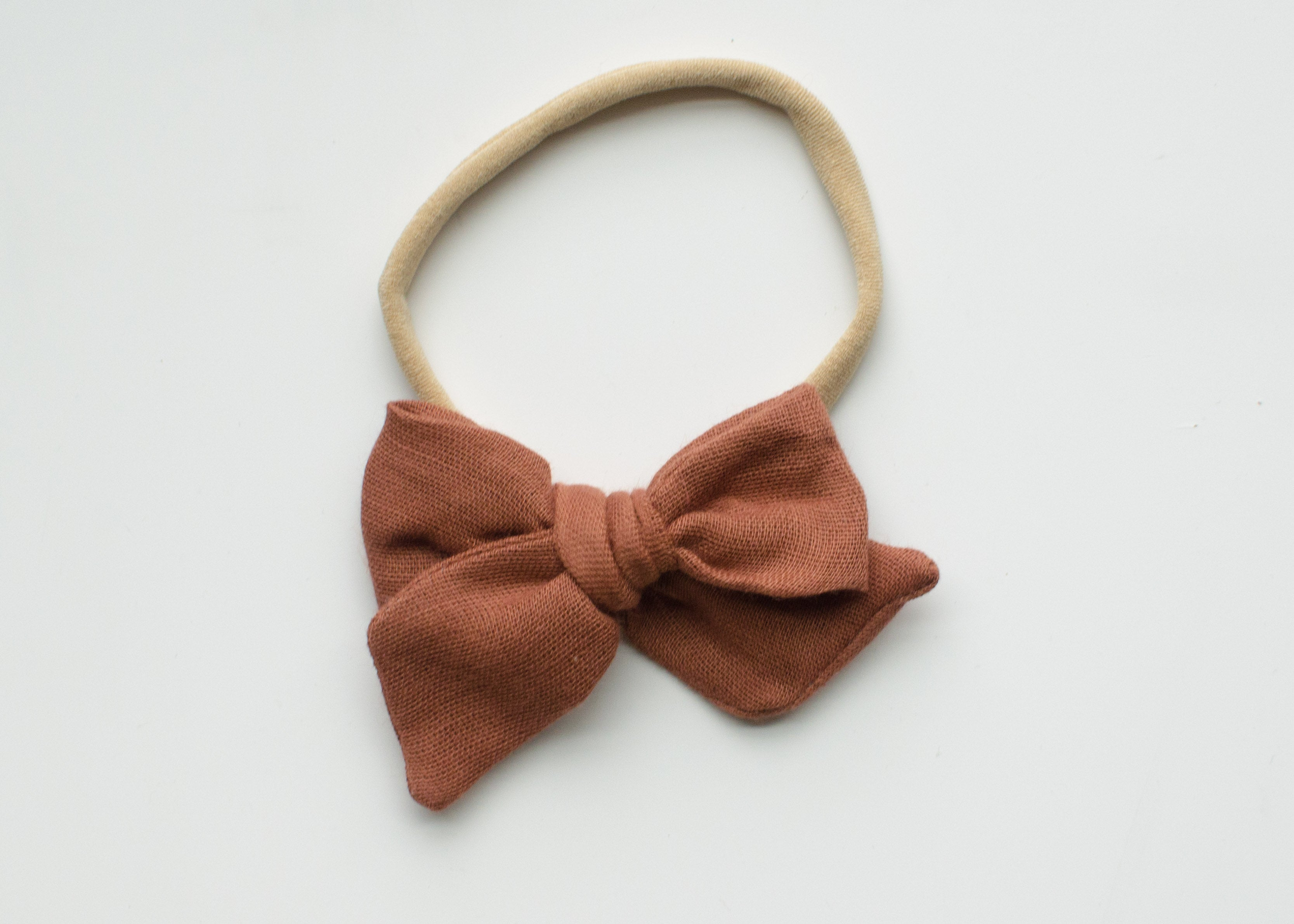 Saloo Gauze Elsie Hair Bow in Rust