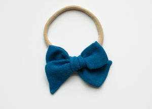Saloo Gauze Elsie Hair Bow in Peacock Blue