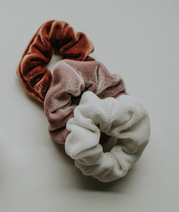 Blush, Ivory & Ochre Velvet Scrunchie Set