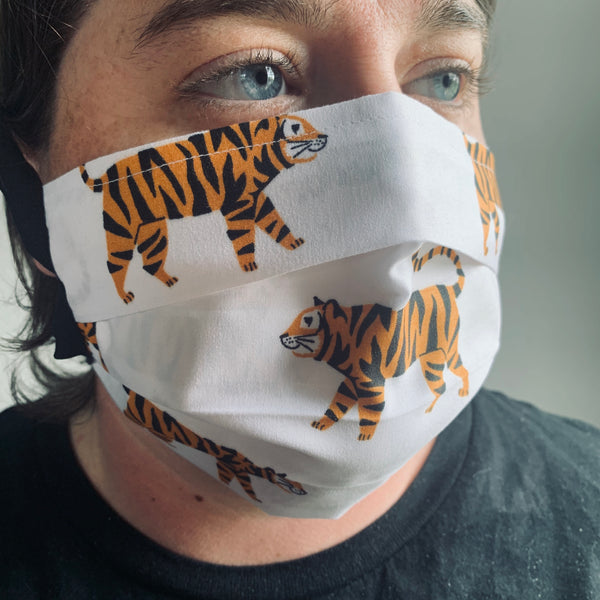 Tiger Printed Pleated Fabric Face Mask | Adult and Kids Size