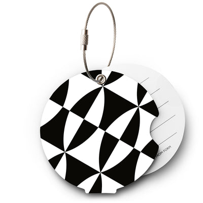 Black and white luggage tag