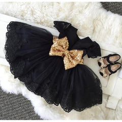 Baby Girl Dress Short Sleeve with Sequin Belt-Black for Birthday, Pageant, Party/ Flower Dress-kid clothing-UAE Cute Stuff