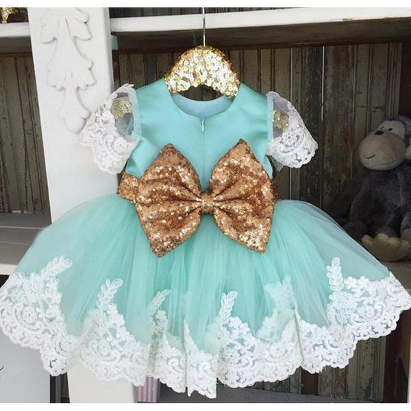 Baby Girl Dress Short Sleeve with Sequin Belt-Mint Green for Birthday, Pageant, Party/ Flower Dress-kid clothing-UAE Cute Stuff