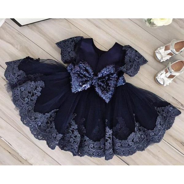 Baby Girl Dress Short Sleeve with Sequin Belt-Navy Blue for Birthday, Pageant, Party/ Flower Dress-kid clothing-UAE Cute Stuff
