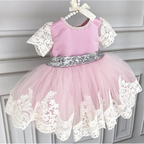 Baby Girl Dress Short Sleeve with Sequin Belt-Pink for Birthday, Pageant, Party/ Flower Dress-kid clothing-UAE Cute Stuff