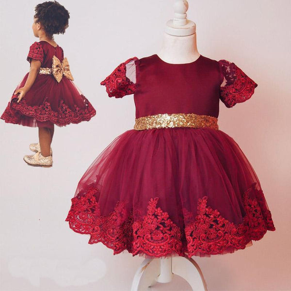 Baby Girl Dress Short Sleeve with Sequin Belt-Red Wine for Birthday, Pageant, Party/ Flower Dress-kid clothing-UAE Cute Stuff