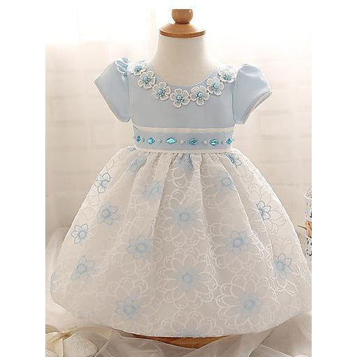 Baby Girl's Party Floral Dress, Summer Floral Short Sleeves Pink Light Blue-kid clothing-UAE Cute Stuff