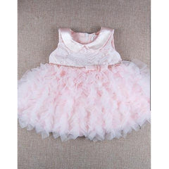 Baby Girl's Party Floral Dress, Summer Ruffle Sleeveless Blushing Pink-kid clothing-UAE Cute Stuff