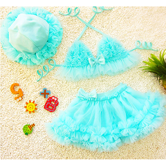 Bikini Skirt Girl Swimsuit with Matching Hat-kid clothing-UAE Cute Stuff