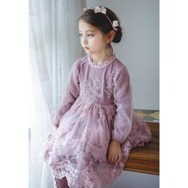 Blush/ Pastel purple Dress Lace for Birthday, Pageant, Party/ Flower Dress-kid clothing-UAE Cute Stuff