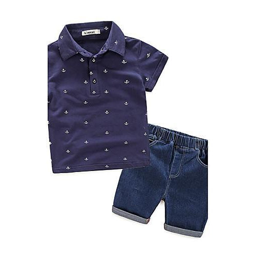 Boys' Clothing Set, Cotton Short Sleeves White Navy Blue-kid clothing-UAE Cute Stuff