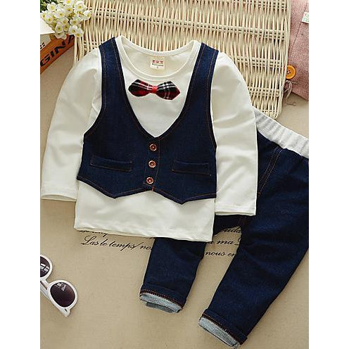 Boys' Party Daily Solid Patchwork Clothing Set, Cotton Long Sleeves-kid clothing-UAE Cute Stuff