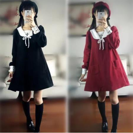 Cross embroidered plus velvet long-sleeved sailor dress-everyday dress-UAE Cute Stuff