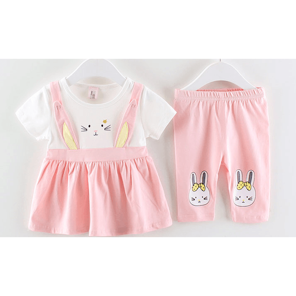 Cute Girl Short Sleeves with Matching Pant~6 months to 4.5 years old kids for Birthday, Pageant, Party/ Flower Dress-kid clothing-UAE Cute Stuff