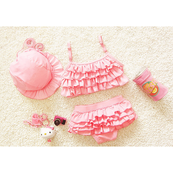 Cute Ruffle Girlish Swimwear/ Bikini with cap-kid clothing-UAE Cute Stuff