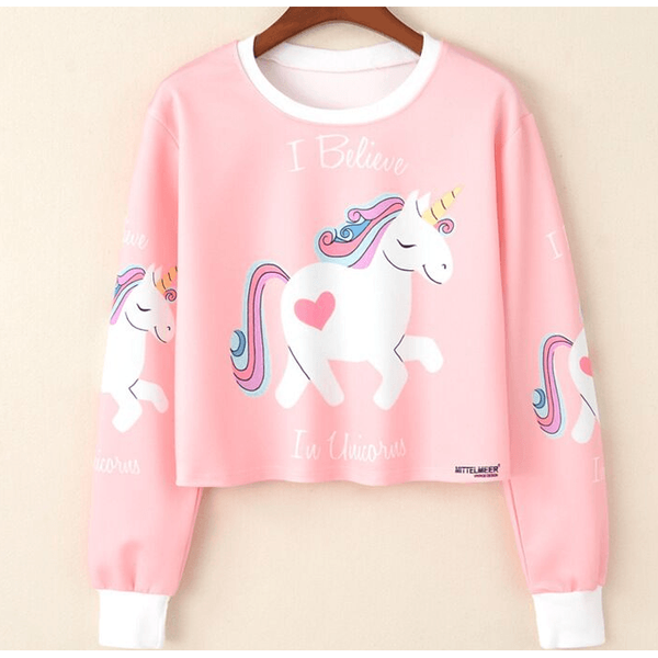 Cutie Unicorn Pink Sweater- Pink-Coral-everyday dress-UAE Cute Stuff