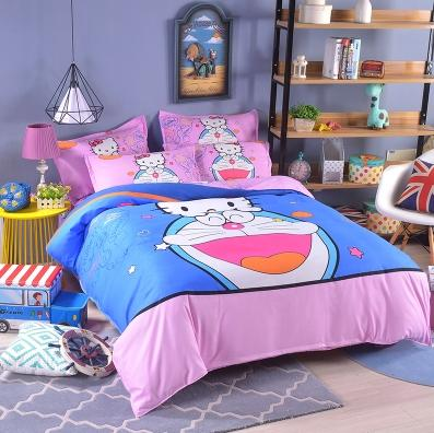Doraemon+ Hello Kitty Bed+Quilt+Pillow Set