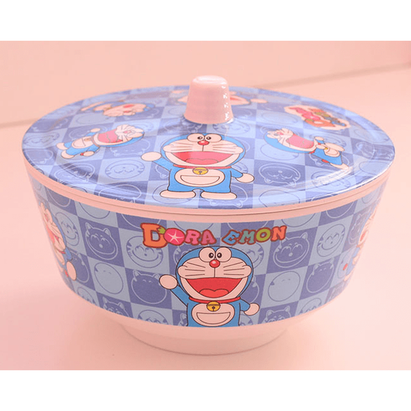 Doraemon melamine bowl with cover-dinnerware-UAE Cute Stuff