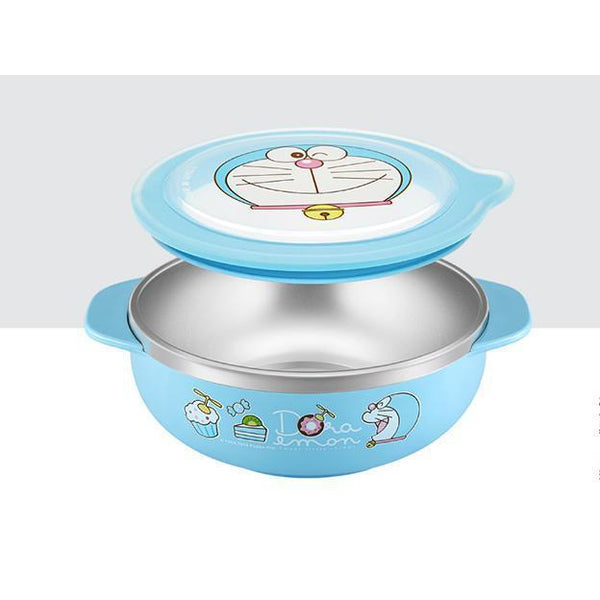 Doraemon stainless steel bowl with lid-dinnerware-UAE Cute Stuff