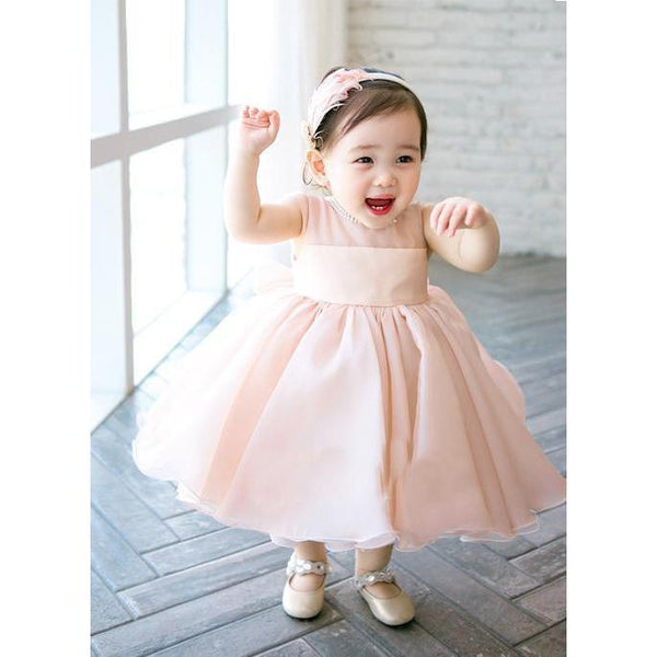 Elegant Girls Dress-Pink/White for Birthday, Pageant, Party/ Flower Dress-kid clothing-UAE Cute Stuff