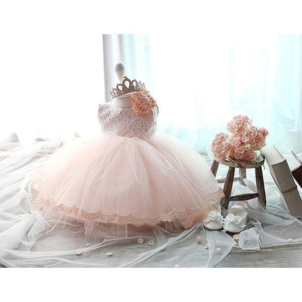 Elegant Lace Top Girl Dress Pink/ Blush for Birthday, Pageant, Party/ Flower Dress-kid clothing-UAE Cute Stuff