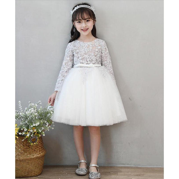 Embroidery Flower Crystal Dress~Longsleeves for Birthday, Pageant, Party/ Flower Dress-kid clothing-UAE Cute Stuff