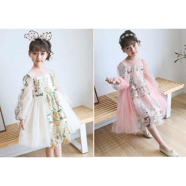 Embroidery Flower Dress for Birthday, Pageant, Party/ Flower Dress-kid clothing-UAE Cute Stuff