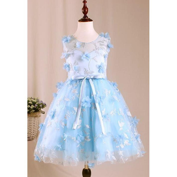 Fairy Tale Blue Flower Dress for Birthday, Pageant, Party/ Flower Dress-kid clothing-UAE Cute Stuff