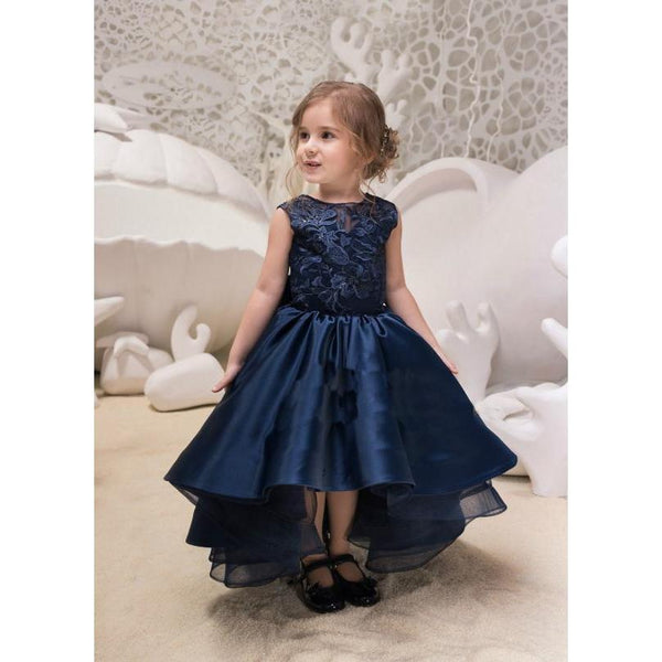 Flower Embroidery with Fish Tail Dress- Navy Blue for Birthday, Pageant, Party/ Flower Dress-kid clothing-UAE Cute Stuff