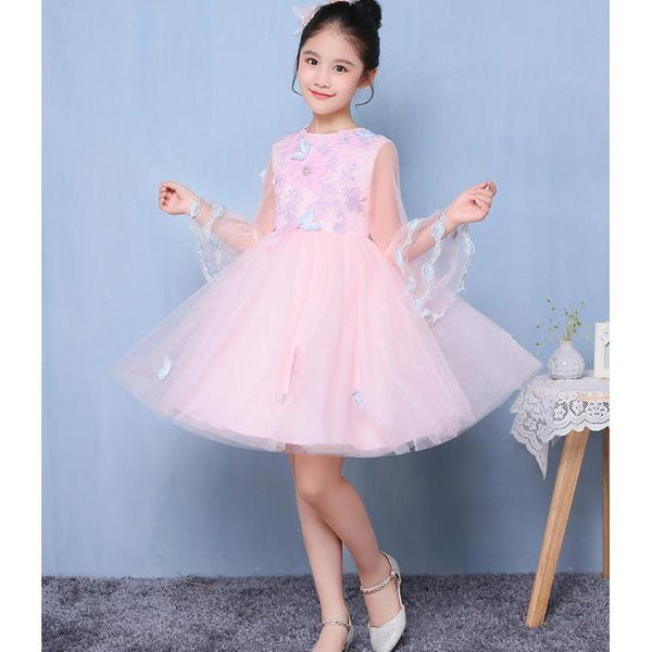 Flower Long Sleeves Dress. for Birthday, Pageant, Party/ Flower Dress-kid clothing-UAE Cute Stuff