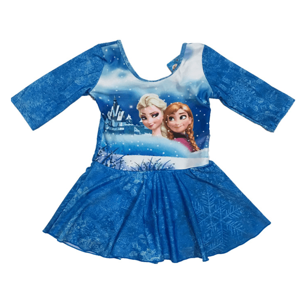 Frozen Swim Suit~one pieces long sleeves with underpants inside skirt-kid clothing-UAE Cute Stuff