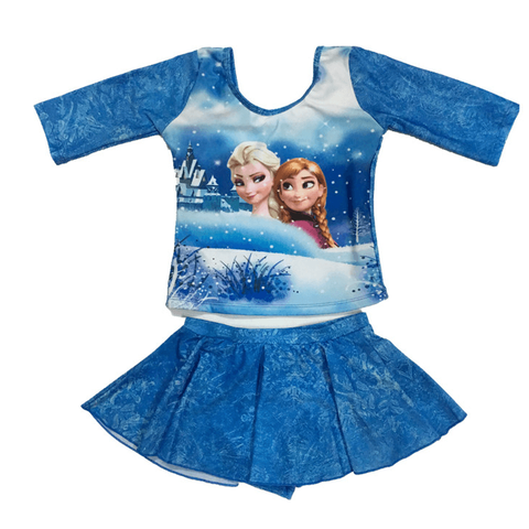 Frozen Swim Suit~two pieces long sleeves with underpants skirt-kid clothing-UAE Cute Stuff