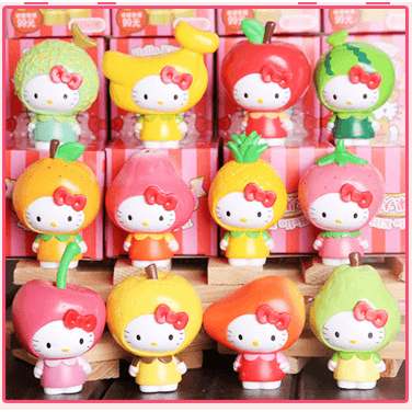 Fruity Hello Kitty Collectible Figure Set/ Cake Decoration-toy-UAE Cute Stuff