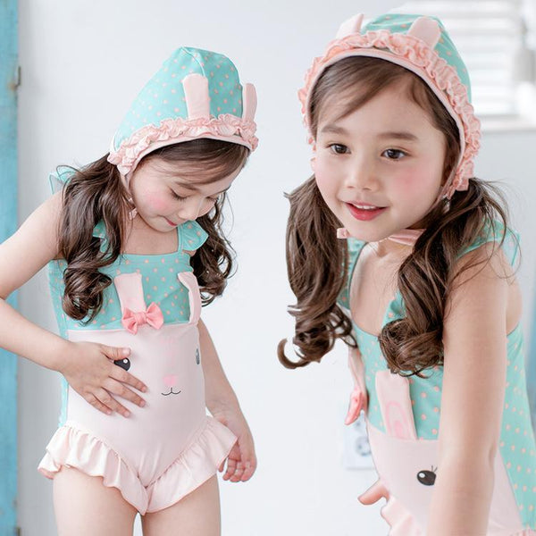 Girl Bunny One-piece Swimsuit Style with Matching Cap-kid clothing-UAE Cute Stuff