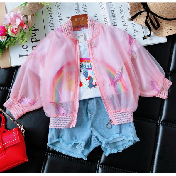 Girl Summer Pink Features Jacket-kid clothing-UAE Cute Stuff