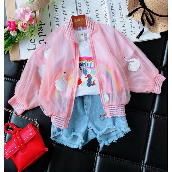 Girl Summer Pink Swan Jacket-kid clothing-UAE Cute Stuff