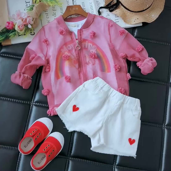 Girl Summer Pink with Tassel Jacket-kid clothing-UAE Cute Stuff