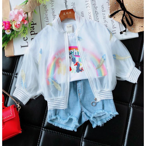Girl Summer White Feathers Jacket-kid clothing-UAE Cute Stuff