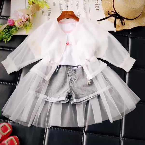 Girl Summer White Long Jacket-kid clothing-UAE Cute Stuff