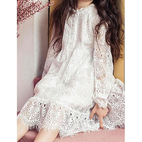Girl's Daily Solid Dress, Summer Long Sleeves Simple White-kid clothing-UAE Cute Stuff
