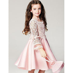 Girl's Dress, Summer Long Sleeves Floral Pink-kid clothing-UAE Cute Stuff