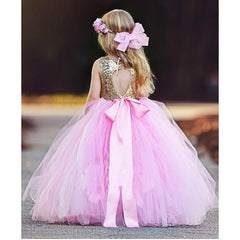 Gold Sequin with Fluffy Pink Tutu Full Gown Dress for Birthday, Pageant, Party/ Flower Dress-kid clothing-UAE Cute Stuff