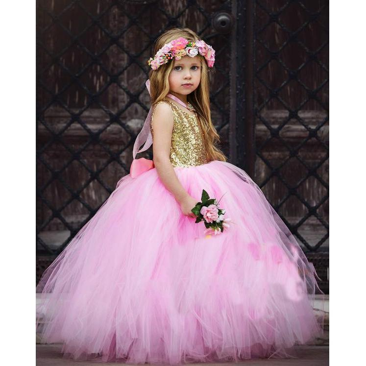 Gold Sequin with Fluffy Pink Tutu Full Gown Dress for Birthday ...