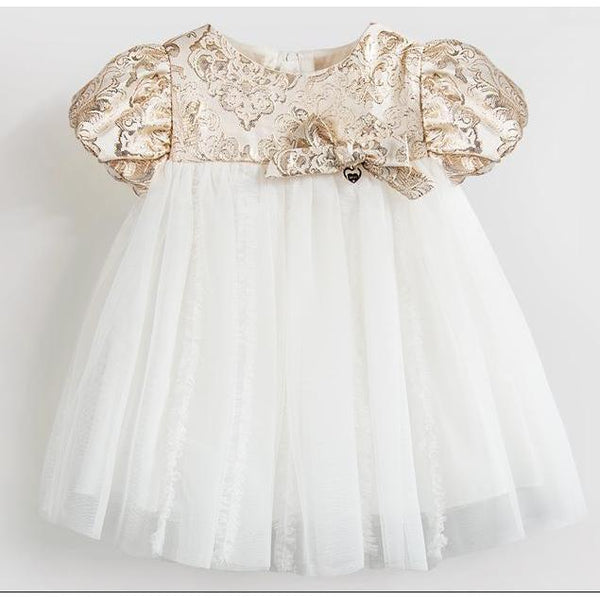Golden Embroidery Dress for Birthday, Pageant, Party/ Flower Dress-kid clothing-UAE Cute Stuff