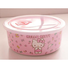 HELLO KITTY cartoon melamine with lid bowl-dinnerware-UAE Cute Stuff